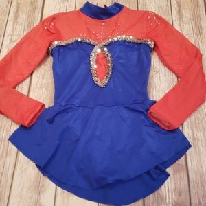 Red blue skating dress